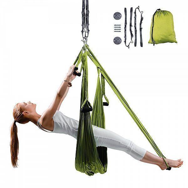 Антигравитационный гамак для йоги inSPORTline Hemmok + ремешки, потолочные кронштейны и крепежные винты