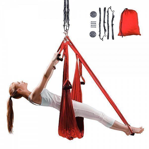 Антигравитационный йога-гамак inSPORTline Hemmok красный