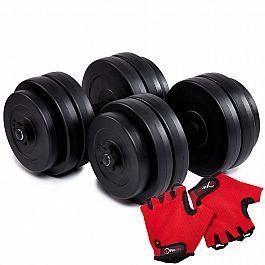 Гантели битумные Iron Body 2x26кг с перчатками