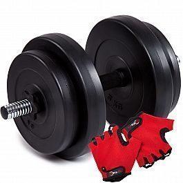 Гантель битумная Iron Body 15,5кг + перчатки