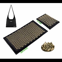 Коврик акупунктурный с валиком 4FIZJO Eco Mat Аппликатор Кузнецова 68 x 42 см 4FJ0179 Black/Gold