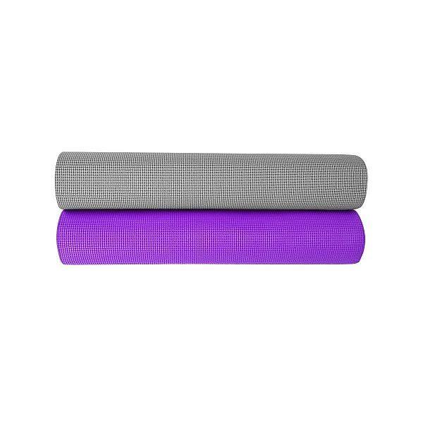 Фитнес коврик для йоги 5 мм фиолетовый , серебряный
